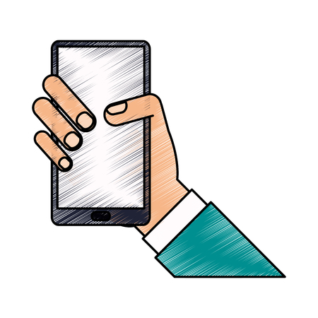 color pencil hand holding smartphone device vector illustration