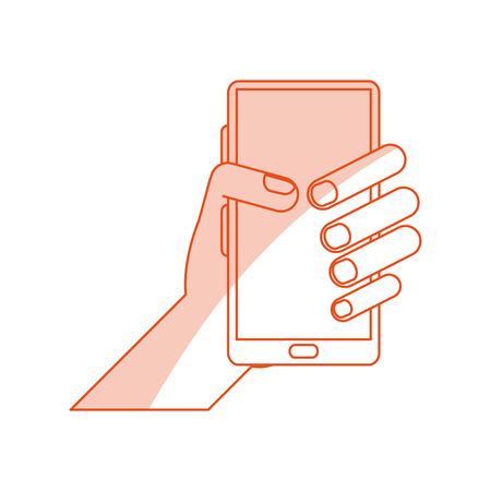 red silhouette shading image cartoon hand holding smartphone device vector illustration