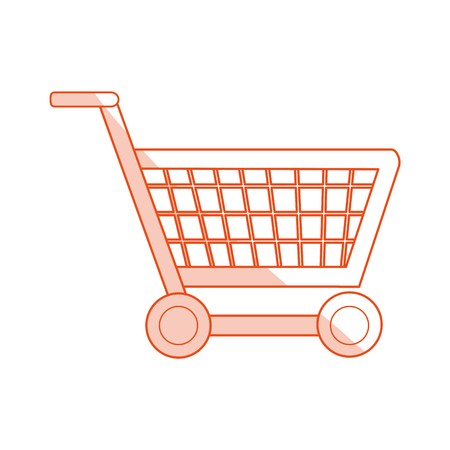 red silhouette shading image shopping cart with wheels vector illustration