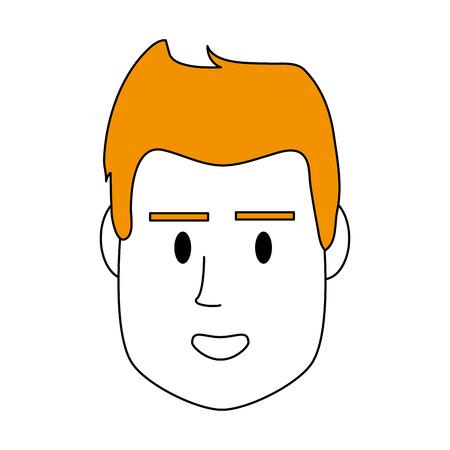 髪型とベクトル図を笑顔色シルエット画像正面顔男