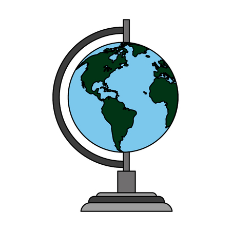 color image cartoon earth globe vector illustration