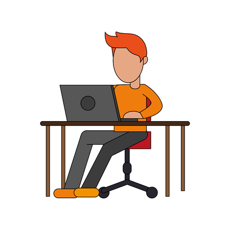 color image cartoon faceless man sitting in desk with laptop computer vector illustration