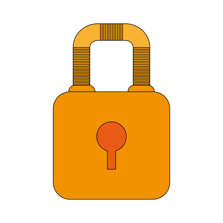 color image cartoon padlock with body and shackle vector illustration Illustration