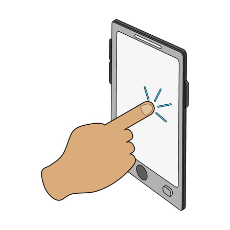 color image cartoon finger touching a tablet screen vector illustration