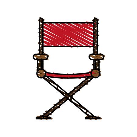 filmmaker: color crayon stripe image cartoon cinema director chair vector illustration Illustration