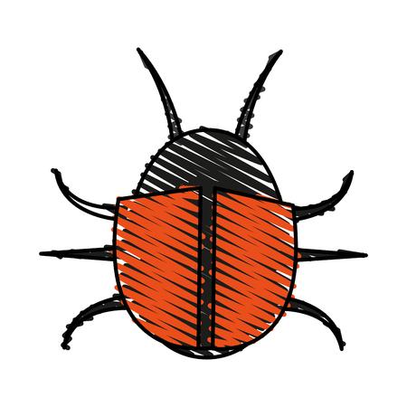 color crayon stripe image cartoon beetle virus icon vector illustration