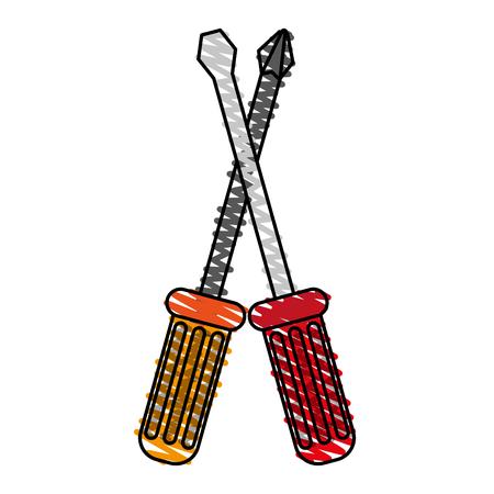 color crayon stripe image cartoon set screwdriver with spade tip vector illustration
