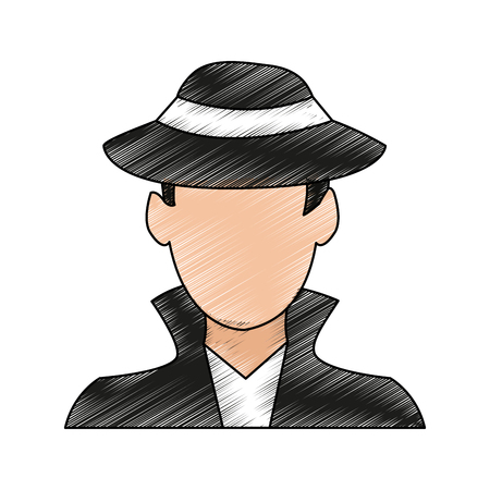 color pencil image cartoon half body hacker with jacket and hat vector illustration