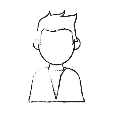 blurred silhouette half body faceless man with t-shirt vector illustration