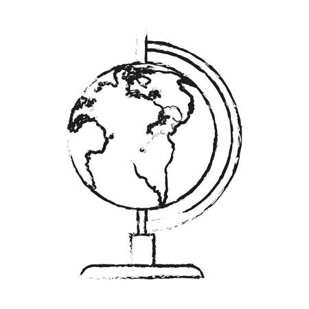 blurred silhouette image cartoon earth globe vector illustration
