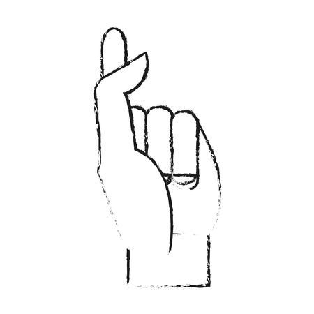 wazig silhouet afbeelding hand kruising vingers vector illustratie