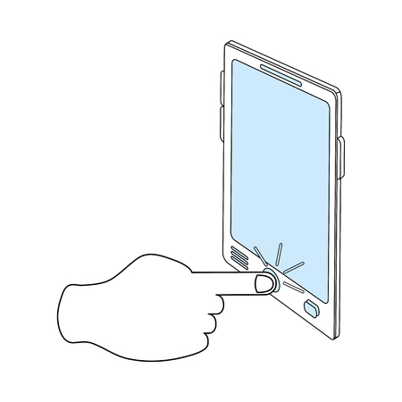 tablet pc in hand: color silhouette image cartoon finger touching a tablet screen vector illustration Illustration