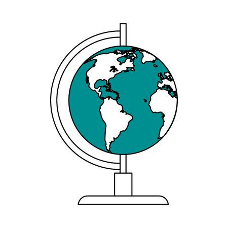 color silhouette image cartoon earth globe vector illustration Vectores