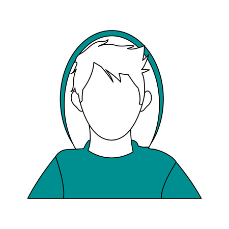 hair mask: color silhouette image cartoon faceless half body hacker with coat vector illustration