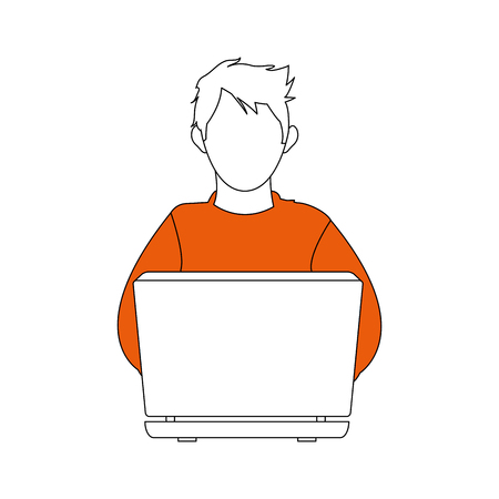 stealing data: color silhouette image cartoon hacker sitting at the desktop vector illustration