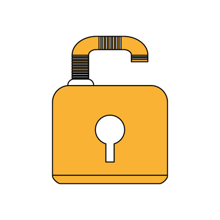 color silhouette image padlock with body and shackle vector illustration Illustration
