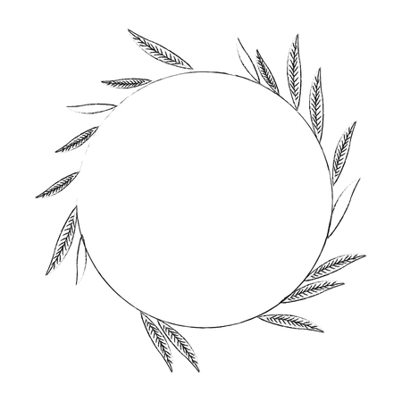 elongated: blurred silhouette image decorative crown of elongated leaves in circular shape vector illustration