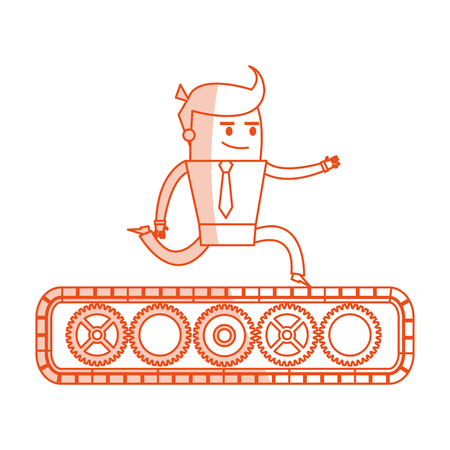 belt up: red silhouette image cartoon business man riding an belt with gears vector illustration