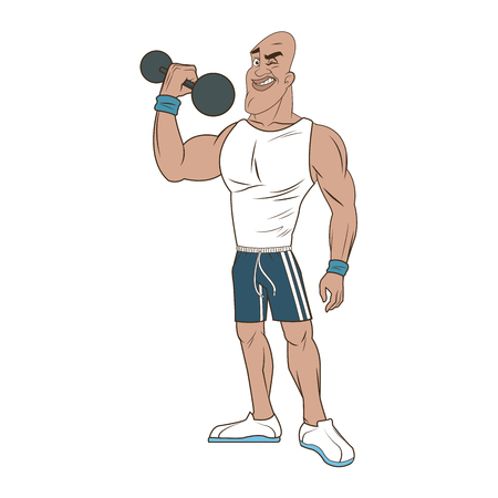 man weight lifting bodybuilding sport image vector illustration Illustration
