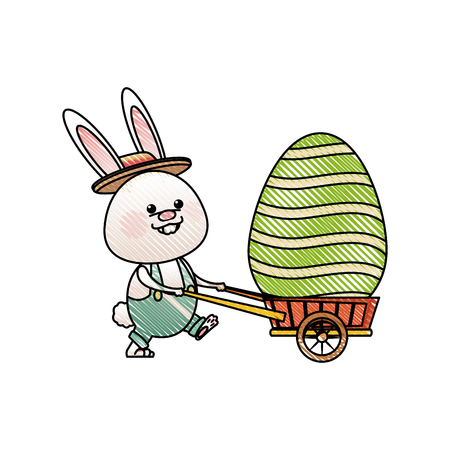 drawing easter rabbit with decor egg wheelbarrow vector illustration