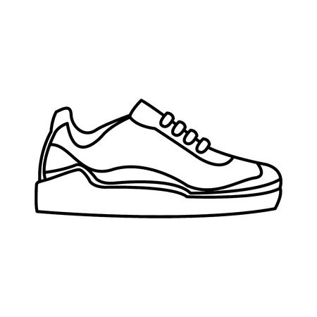Sneaker Sport Footwear Training Line Vector Illustration Royalty