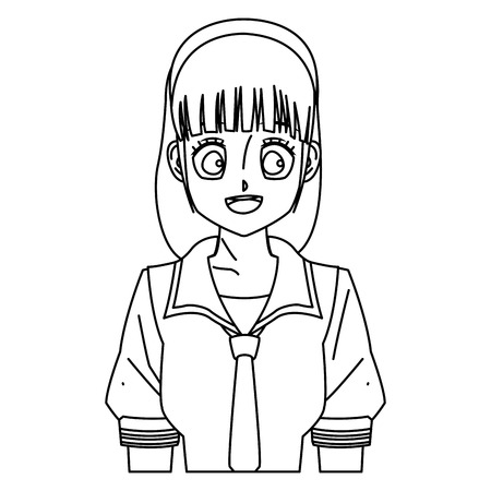 cartoon girl anime character outline vector illustration royalty