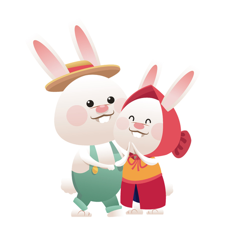 lovely couple easter bunny together vector illustration