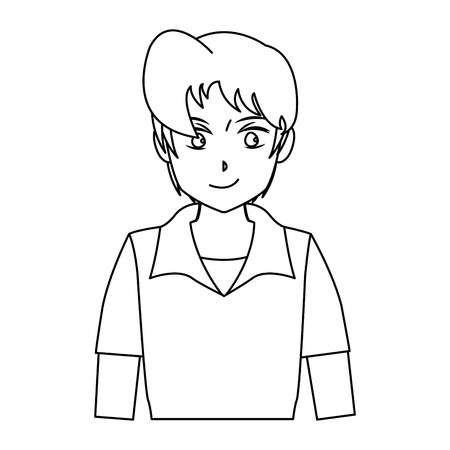 character boy anime teenager outline vector illustration royalty
