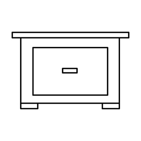 nachtkastje meubel deur houten lijn vector illustratie Stock Illustratie