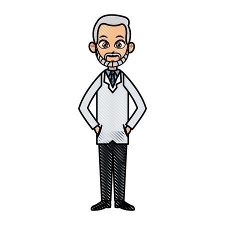 clipart wrinkles: drawing doctor man adult healthy vector illustration Illustration