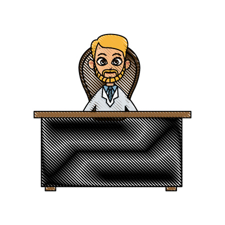 drawing doctor man working desk chair consult vector illustration