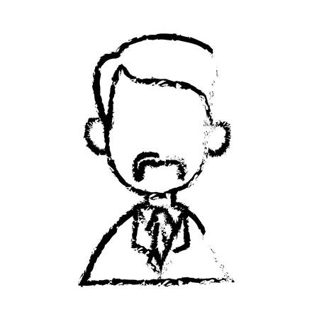 portrait character doctor man sketch vector illustration