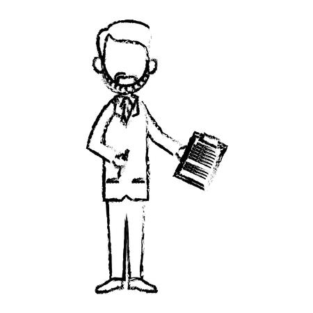 doctor man professional medical work sketch vector illustration Illustration