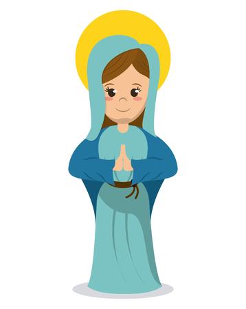 virgin mary religious catholic image vector illustration