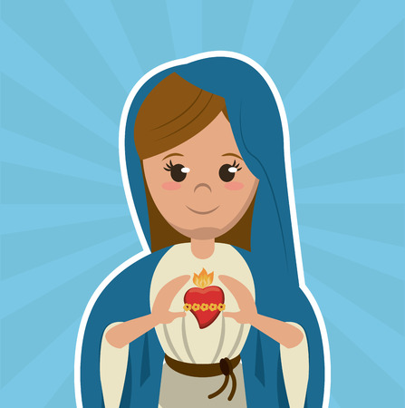 virgin mary sacred heart christian catholic symbol image vector illustration
