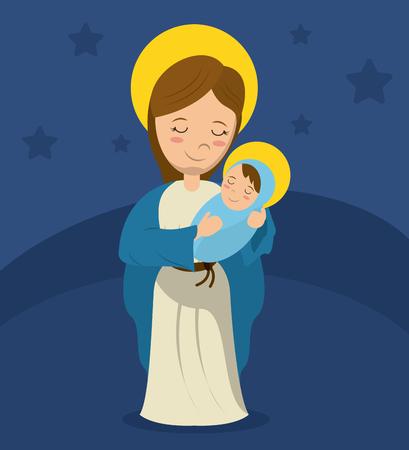 virgin mary and child jesus blue bakcground vector illustration