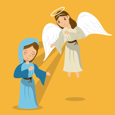 virgin mary with angel annunciation scene vector illustration