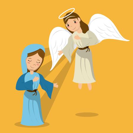 maagd maria met engel aankondiging scène vectorillustratie
