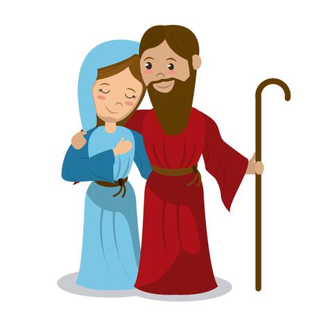 virgin mary and joseph holding stick hugging vector illustration