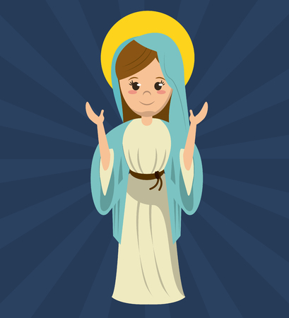 Virgin Mary bidden standbeeld afbeelding vector illustratie Stock Illustratie