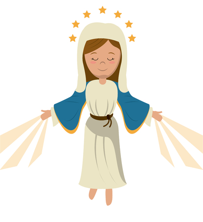virgin mary ascension blessed image vector illustration Çizim