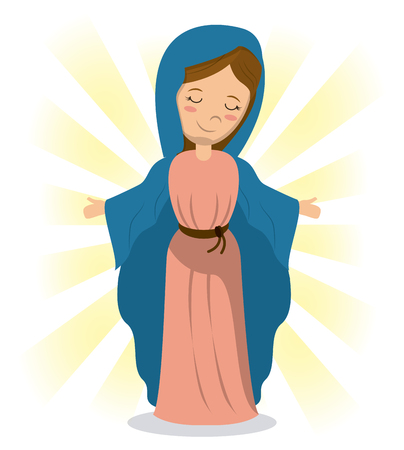 consecrated: virgin mary holiness divine image vector illustration