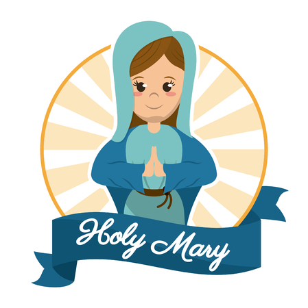 sanctified: holy mary prayer religious sanctified image vector illustration