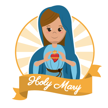holy mary sacred heart religion statue image vector illustration