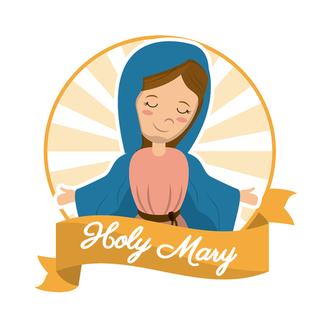 holy mary sanctified religion blessed image vector illustration Illustration