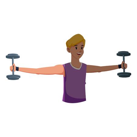 activewear: sport man fitness gym practice workout vector illustration