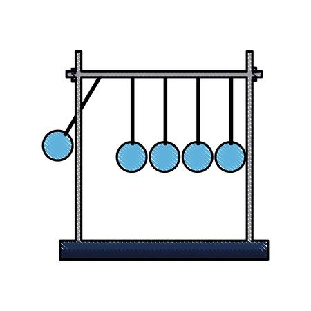 tekening newtons cradle momentum slinger metaal vectorillustratie