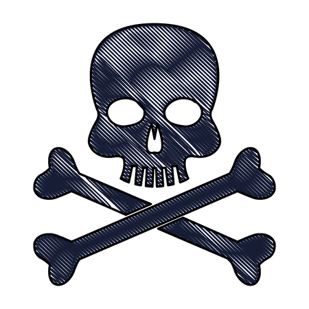 drawing skull bones danger poison laboratory vector illustration