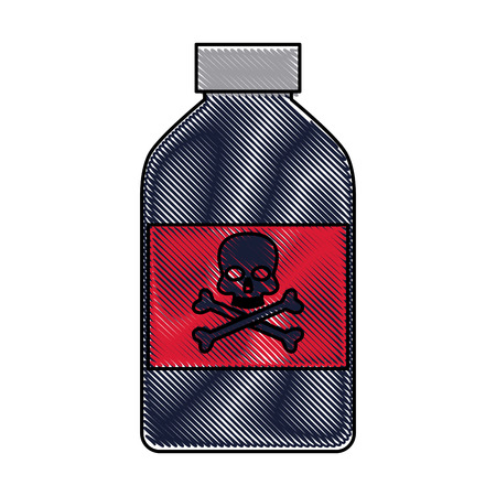 drawing bottle poison chemical danger skull bone vector illustration Illustration