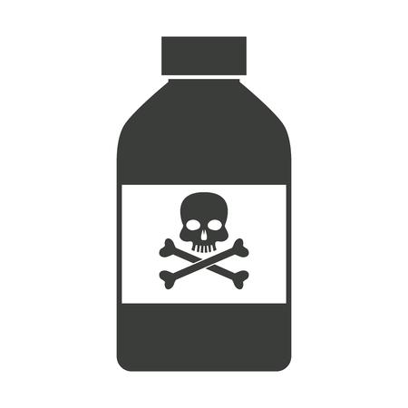 bottle poison chemical danger skull bone vector illustration